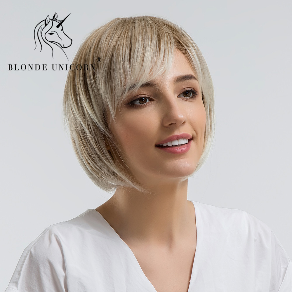 BLONDE UNICORN Synthetic Wig 10 Inch Blonde Ombre Bob Wigs For Women With Side Bangs Hairs High Temperature Fiber Straight Wigs