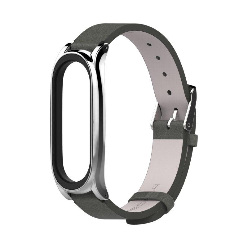 Image 4 - Для mi Band 3 ремешок металлический каркас из искусственной кожи ремешок для Xiaomi mi Band 3 умный браслет аксессуары mi band 3 PU плюс кожаный ремешок-in Умные аксессуары from Бытовая электроника