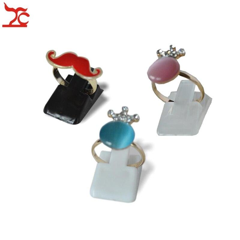Fashion Mini Ring Display Showcase 200Pcs White Black Clear Plastic Ring Clip Rack Ring Organizer Stand Holder 1*0.6