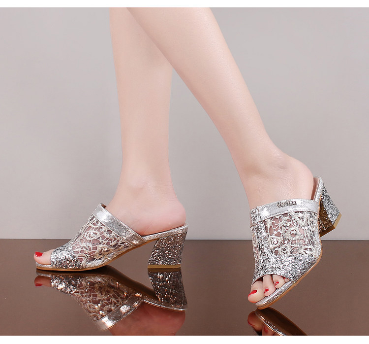 HTB1r29kgL1TBuNjy0Fjq6yjyXXaL Women sandals 2019 Bling fashion square heel summer lace slippers women sexy Hollow sandals for women size 35-41