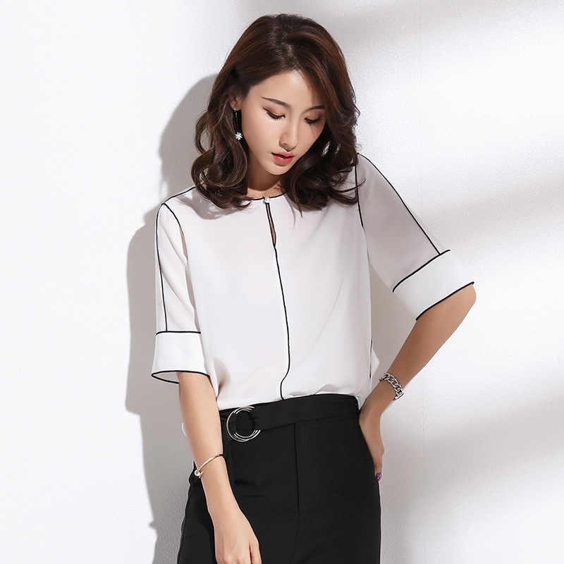 3811f15e7d98 QA267 High Quality Summer Shirt 2018 Elegant Women Blouse White Black Office  Ladies Tops Roupas Feminina