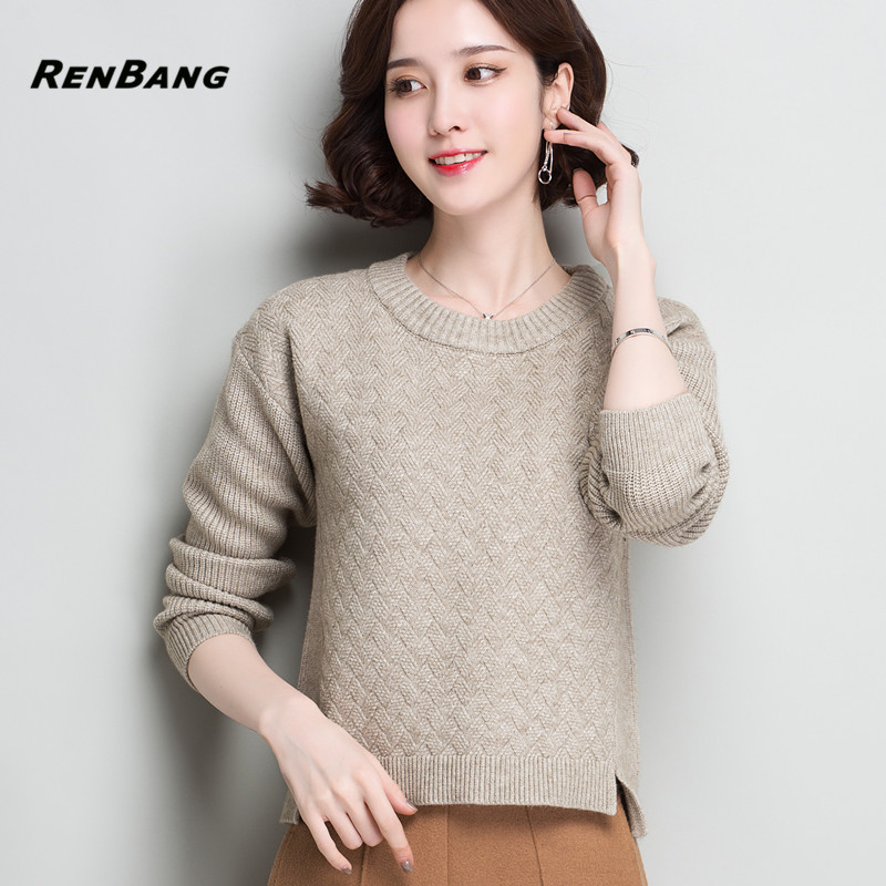 00bc59334e RENBANG Elegant Black Simple Knitted Sweater Women Casual Long Sleeve  Jumper Pullover Spring Loose Office Pullover and Sweater-in Pullovers from  Women s ...