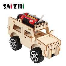 Saizhi diy elétrica jeep modelo kits crianças estudantes de ensino crianças a vapor científico experimento veículo brinquedos brinquedo educacional