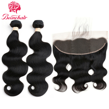 Beauhair Malaysian Body Wave Human Hair Weave 2 Bundles With 13*4 Lace Frontal Non Remy Closure With Bundles Free Shipping