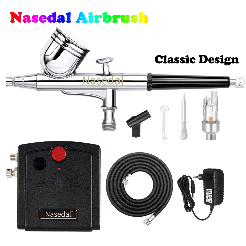 Nasedal Dual-Action Airbrush Spray Gun Mini Airbrush Compressor Kit Airbrush For Nail Art Makeup Tattoo Model Cake Car Paint(China)