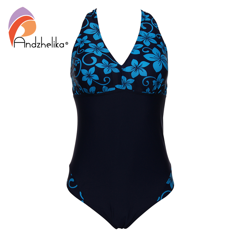 Andzhelika Women Swimwear One Pieces Swimsuits Pint Floral Patchwork Solid High Waist Bathing Suits Plus Size