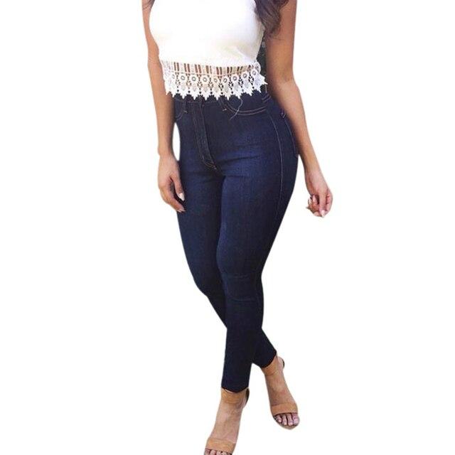 1b6cdea56 Calça Jeans Strech Mulheres 2016 Nova Primavera Calça Jeans Feminina  Cintura Alta Lápis Calças Jeans Calças