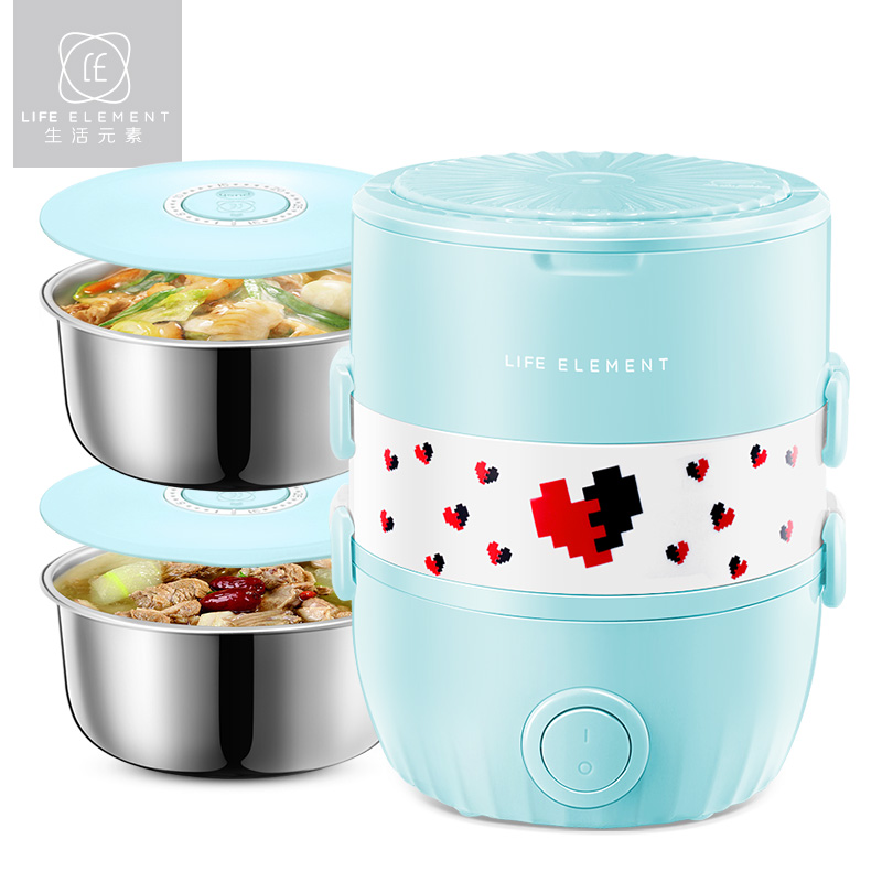 Electric Lunch Box for Student Hot Rice Cooker Household Insulation Lunch Food Container Heating 2 Layers Pluggable Preservation multi function electric lunch box stainless steel tank household pluggable electric heating insulation lunch box