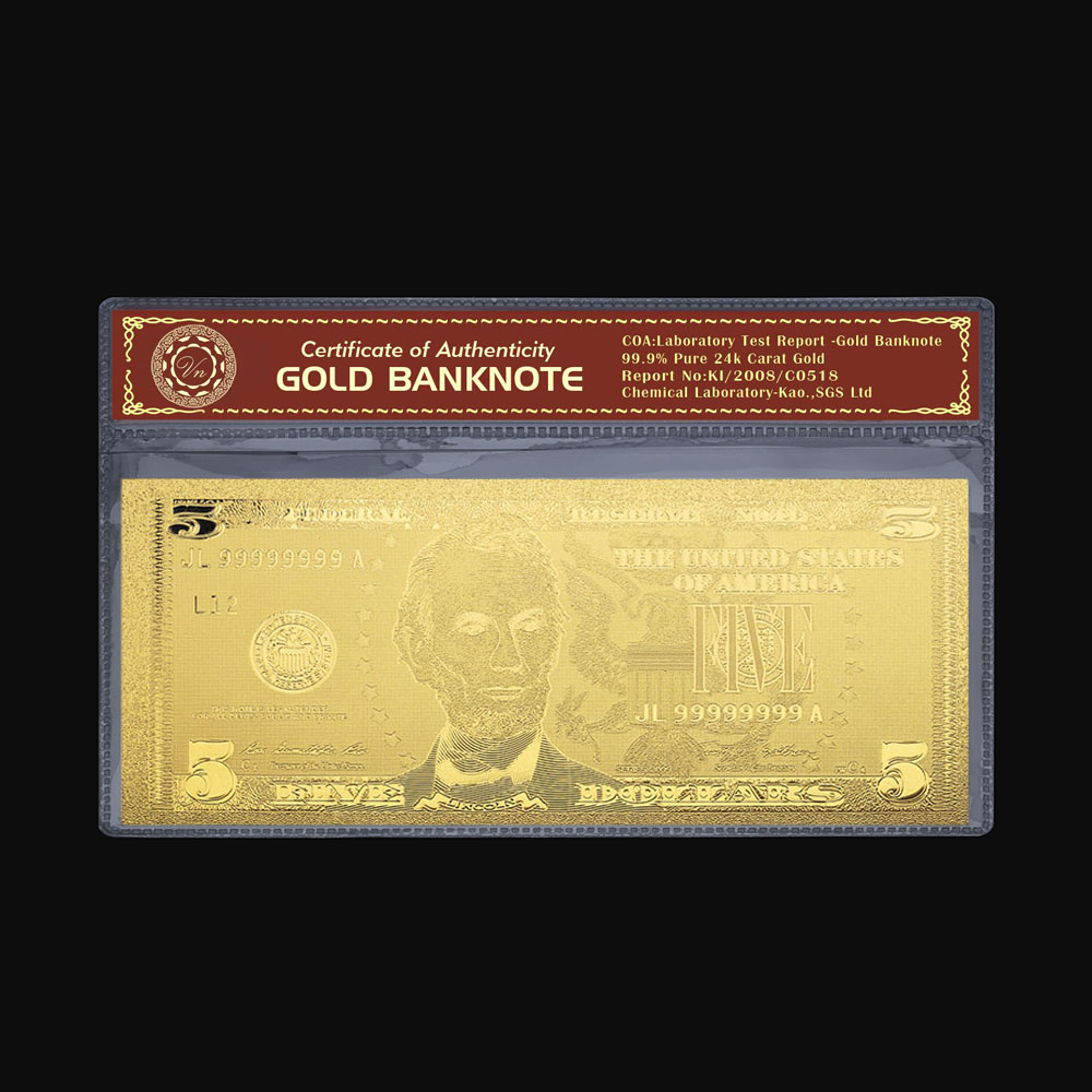 Banknotes Paper Money Collecting USD $5 Gold Dollar Bill Bank Note Colection