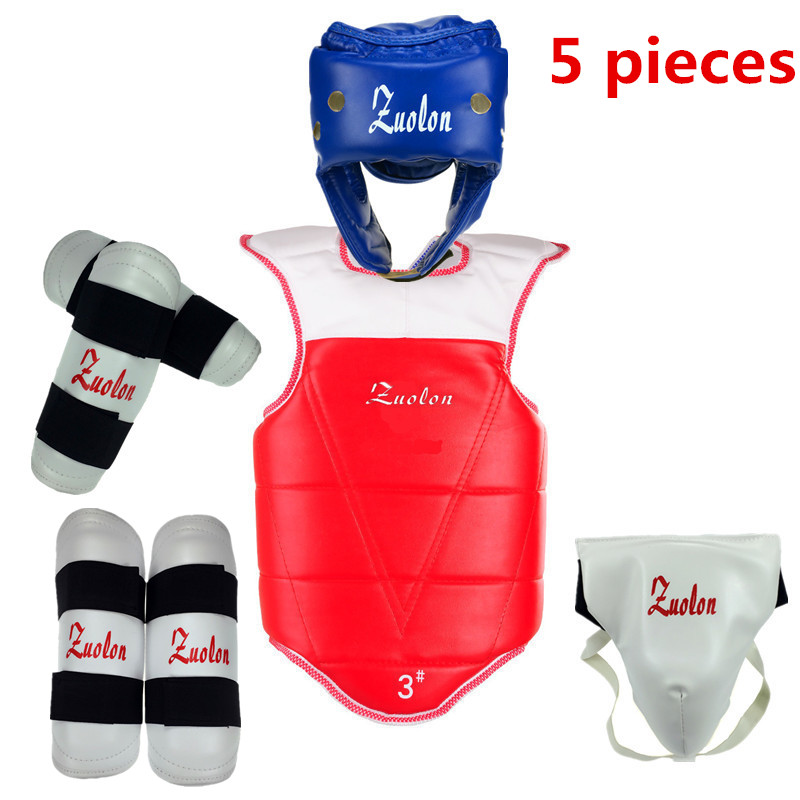 taekwondo thickening wtf taekwondo protection 5pcs taekwondo protector chest protector karate helmet guard jduanl muay thai boxing waist training belt mma sanda karate taekwondo guards brace chest trainer support fight protector deo