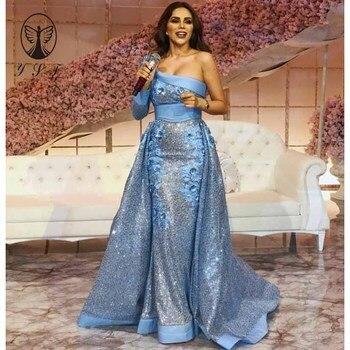 Diseño árabe azul un hombro apliques 3D flores lentejuelas encaje sirena vestidos de graduación con falda 2019