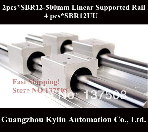 Best Price! 2 pcs SBR12 500mm linear bearing supported rails+4 pcs SBR12UU bearing blocks for CNC best price 5pin cable for outdoor printer