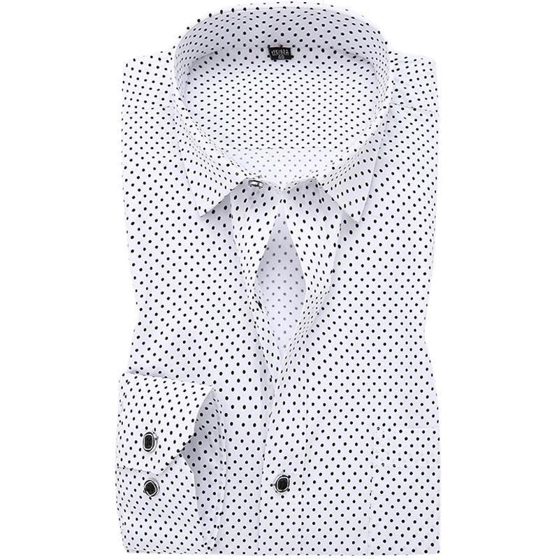 Hot Polka Dot Men Shirt 100% Cotton Business Dress Shirts Casual ...