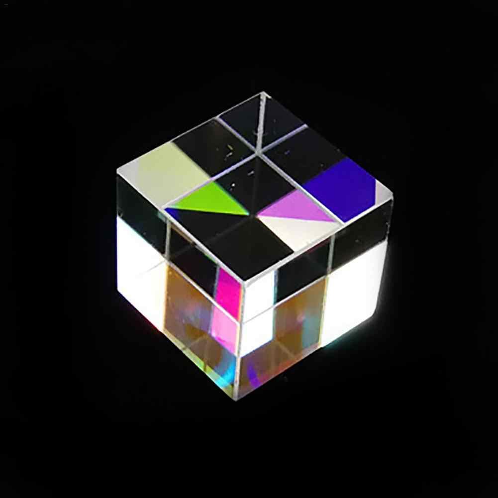 X-Cube de seis lados de luz brillante Cubo de vidrio tintado prisma viga División Prisma óptico instrumento de prueba lente óptica 12,7*12,7