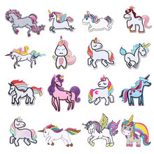 Cartoon Unicorn Patches Flower Stickers Diy Iron on Clothes Heat Transfer Applique Embroidered Patch Applications Cloth Fabric
