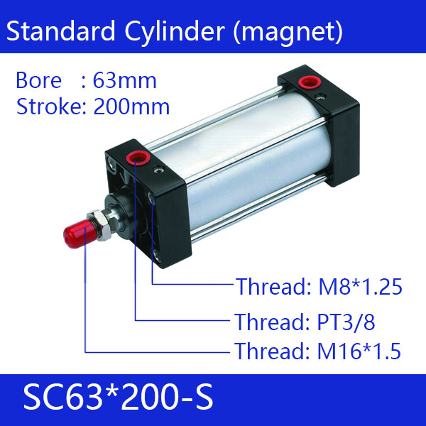ФОТО SC63*200-S 63mm Bore 200mm Stroke SC63X200-S SC Series Single Rod Standard Pneumatic Air Cylinder SC63-200-S