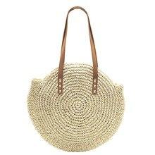 Summer Straw Beach Bag Round Woman's Shoulder Bag Handbag Bohemian Travel Shopping Female Tote vintage Bags bamboo bag