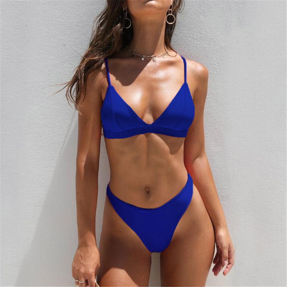 cf53679c3df MUQGEW 2019 Mid Waist New Summer Women Two Pieces Bikini Set Solid High Quality  Padded Push