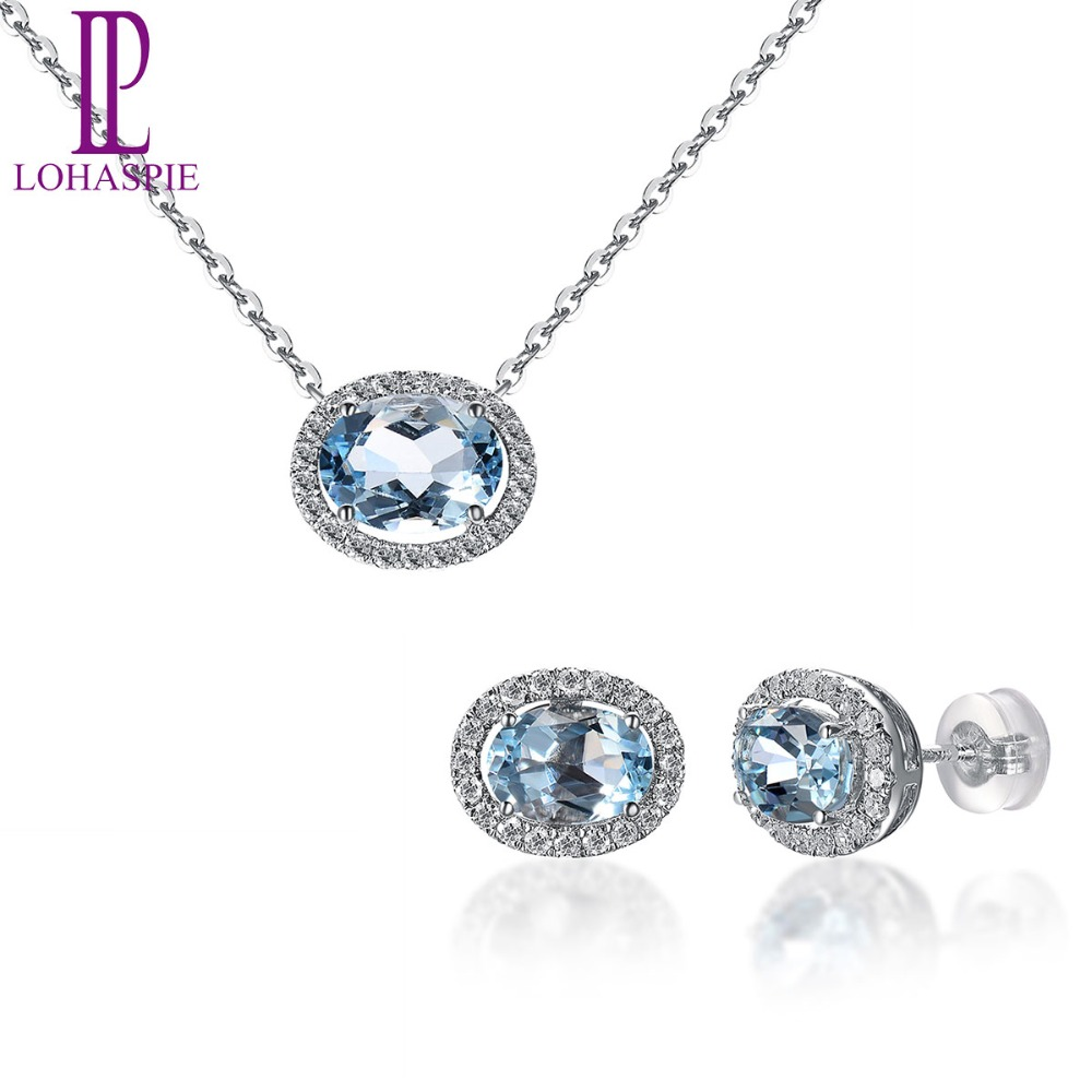Lohaspie Solid 18K White Gold Natural Gemstone Aquamarine & Diamonds Necklace & Earrings Bridal Fine Diamond Jewelry Sets
