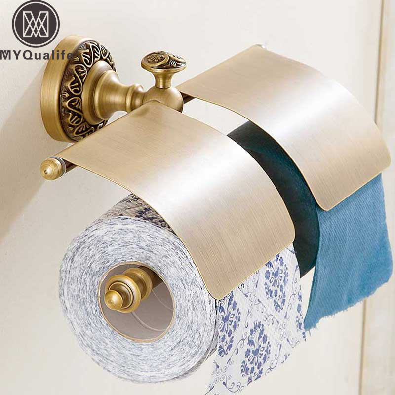 Antique Brass Paper Holder Bathroom Wall Mounted Toilet Roll Paper Holder Bar Double Bar Toilet Paper Tissue Rack free shipping antique brass toilet paper holder with cover wall mounted roll toilet paper holder