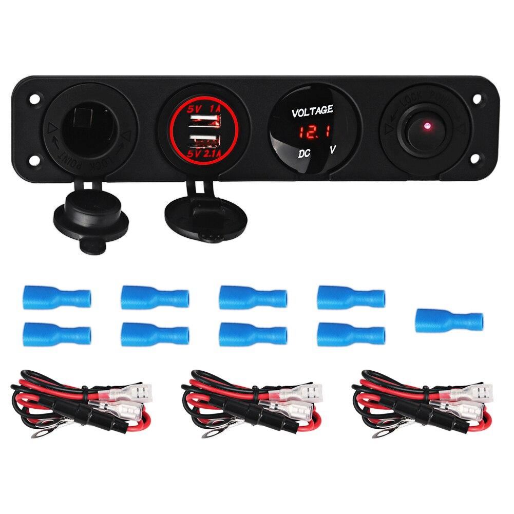 12 V Interruttore Sul Pannello 5 v Dual USB presa Caricabatteria Da Auto Auto Barca Marine + Voltmetro del Tester + Accendisigari Porte Spina Caricatore Auto