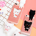 Phone Case for iPhone 7 7plus Cute cartoon three-dimensional couples cat pendant lanyard soft TPU phone shell