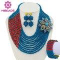 Teal blue orange casamento nigeriano beads africanos set jóias traje africano conjuntos de jóias de pérolas de noiva set frete grátis gs108
