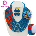 Teal blue orange nigeriano perlas africanas de la boda joyería de traje africana sistemas de la joyería de perlas nupcial envío libre determinado gs108