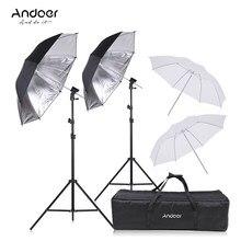 Andoer câmera dupla speedlight flash sapato montagem giratória kit guarda-chuva macio