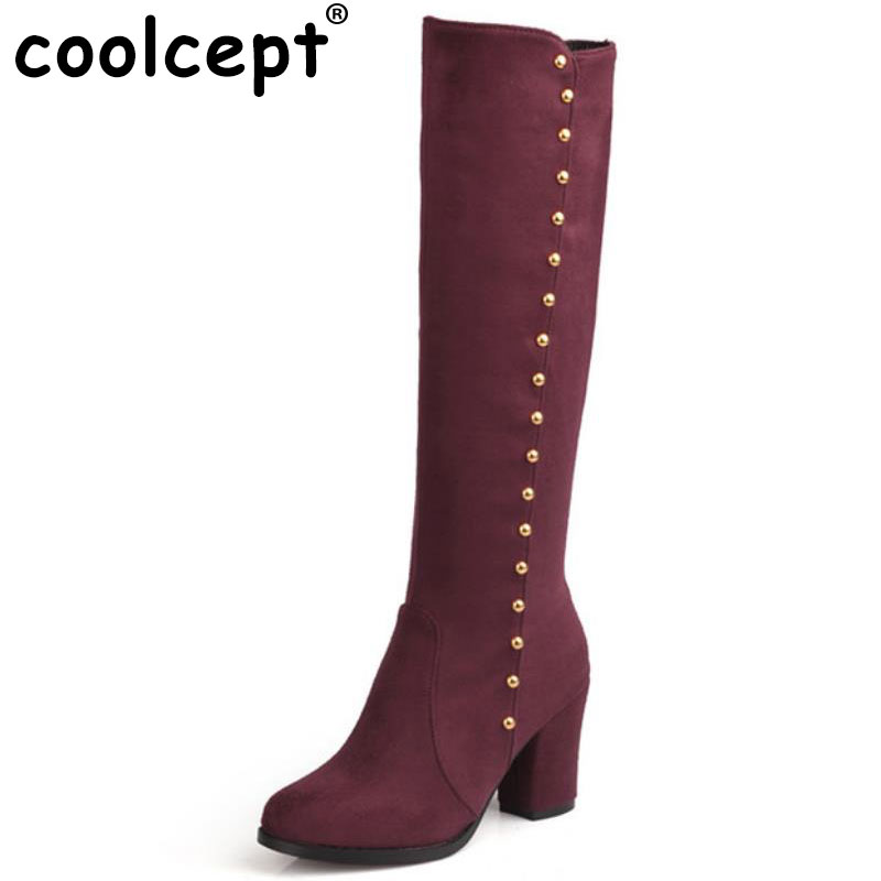 CooLcept Free shipping over knee high heel boots women snow fashion winter warm footwear shoes boot P15945 EUR size 32-48 rizabina women square heels over knee high heel boots women snow fashion winter warm footwear shoes boot p15645 eur size 30 49
