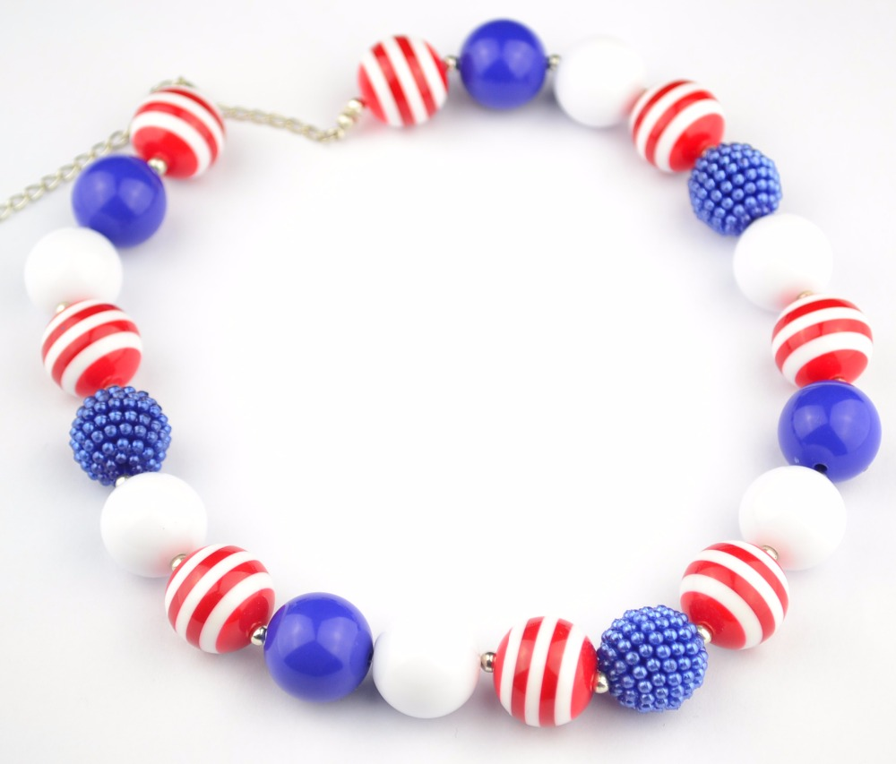 4th July Girls Pearl Necklace Kids Chunky Beads Necklace Handmade Jewelry For Baby Party Gifts! 2pcs/lot