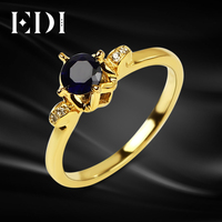 Cinderella Style Solitaire 0 5CT Sapphire Ring Pumpkin Carriage Happiness Unique TY Design Ring 14K 585