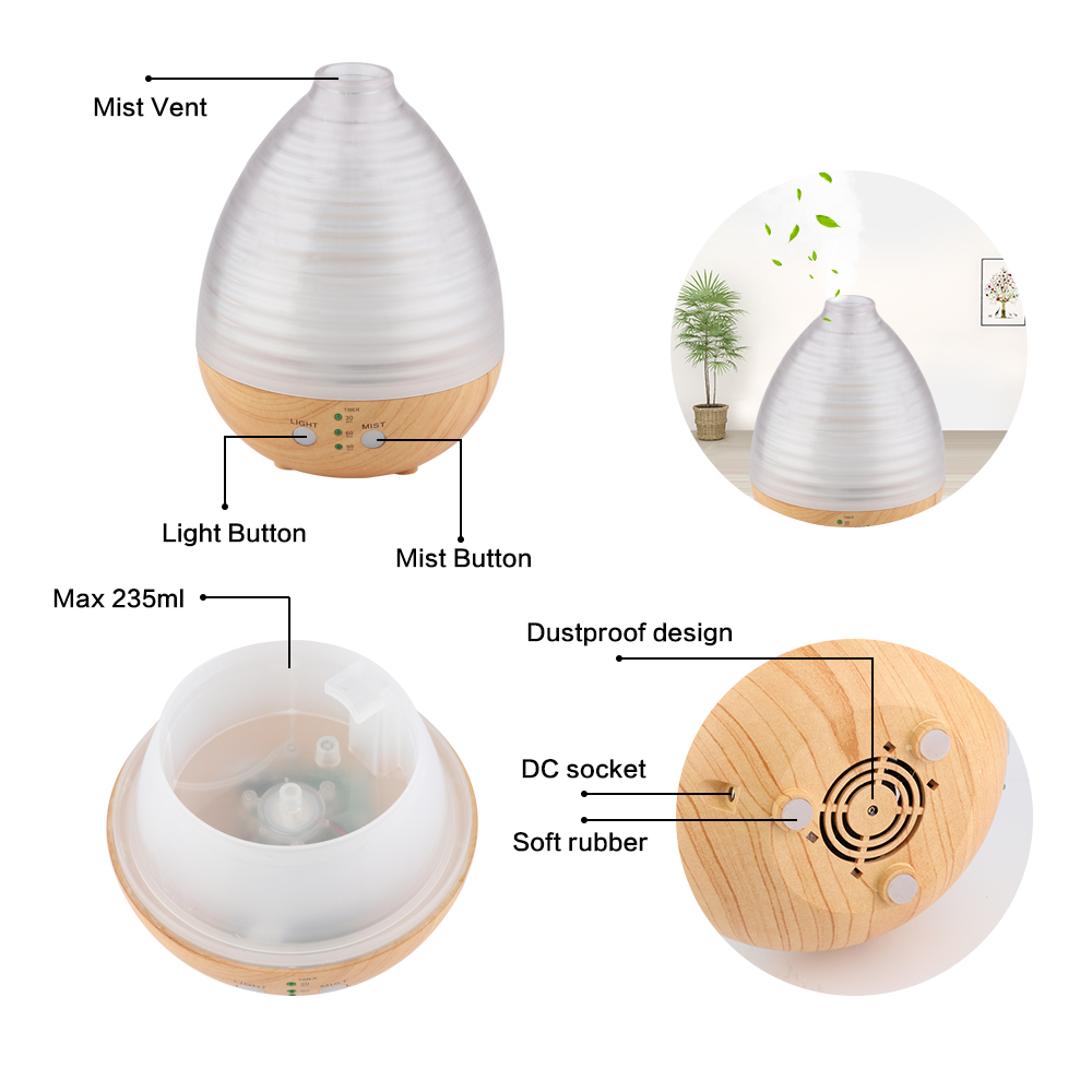Ultrasonic Humidifier Aromatherapy Oil Diffuser Cool Mist With Color LED Lights essential oil diffuser Waterless With USB 506