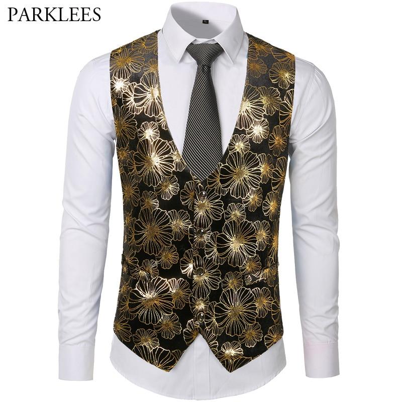 cute cheap clear and distinctive best cheap US $15.96 50% OFF Mens Gold Metallic Floral Print Steampunk Vest Men Groom  Wedding Suit Vest Prom Party Tuxedo Vests Male Chalecos Para Hombre XXL-in  ...