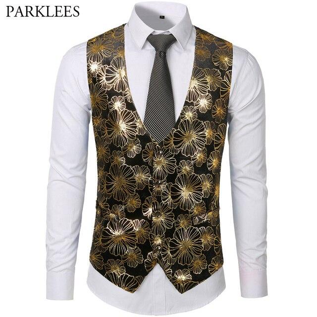 4b70afe0f3e2 Mens Gold Metallic Floral Print Steampunk Vest Men Groom Wedding Suit Vest  Prom Party Tuxedo Vests