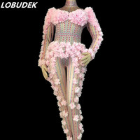 Adult Women Stage Costume Pink Flowers Crystals Jumpsuit Stretch Rhinestones Bodysuit Nightclub Singer DJ DS Performance Outfits