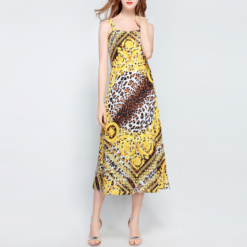 2018 Leopardo Correa De Moda Calidad Multiple Atractivo Verano Nuevo Vestido Medio Partido Becerro Espagueti Del Diseñador La Vendimia Alta C5PfHxP