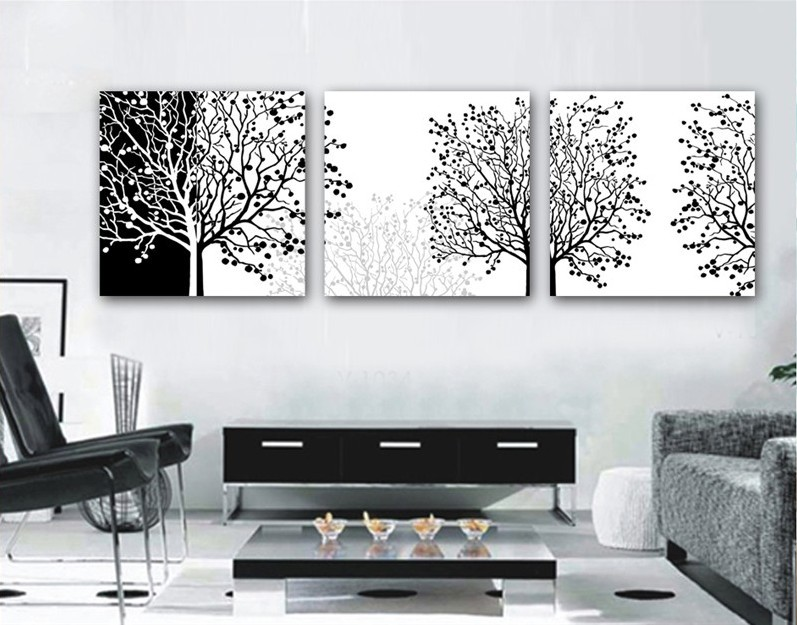 3 pieces modern painting decorative living room combination paint picture canvas print art black and white flower tree wall art in painting calligraphy