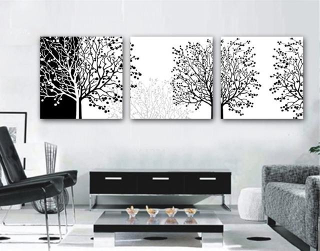 3 pieces Modern Painting Decorative Living Room Combination Paint Picture  Canvas Print Art black and white