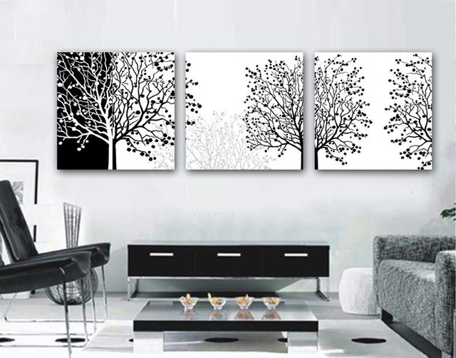 3 Pieces Modern Painting Decorative Living Room Combination Paint Picture Canvas Print Art Black And White Flower Tree Wall