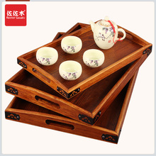Rectangular tray wood snack European cup holder teaboard factory LOGO angle iron