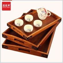 Купить с кэшбэком Rectangular tray wood snack tray European cup holder teaboard factory LOGO angle iron