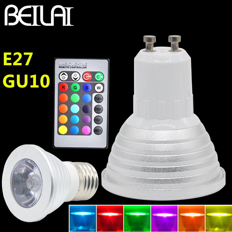 NEW Lampada LED Spotlight GU10 3W Bombillas LED Lamp E27 220V Spot LED Light RGB Candle Luz RGB LED Bulb With 24Key IR Remote new mini e14 led bulb light 9w 7w led bulb 3w 5w 220v led lamp e14 cool warm white lampara led candle spotlight lampada led