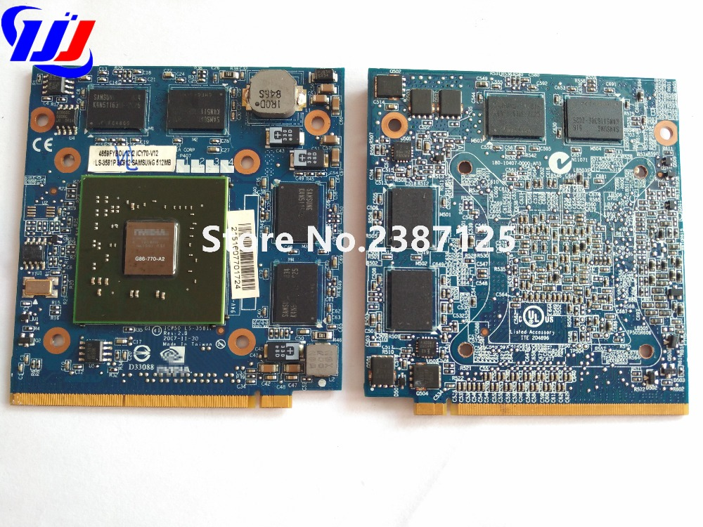 FOR A c er Aspire 5920G 5520 5920 n V i d i a GeForce VG.8PS06.001 8600M GS G86-770-A2 MXM II DDR2 512MB Graphics VGA Video Card