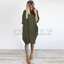 Womens Pocket Loose Dress Ladies Crew Neck Casual Oversized Plus Size Big Dresses For Women Beach