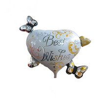 67cm*67cm Best wishes Butterfly love heart shape foil balloons wedding decoration birthday globos Event party supplies