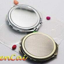 5Kits de moda 50mm Metal juegos de espejos redondo compacto en blanco doble cara espejo de bolsillo portátil espejo de maquillaje para niñas herramienta de belleza