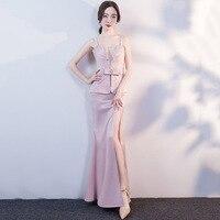 Formal Pink Crystal Bead V Neck Diamond Straps Vestidos Mujer 2018 Cocktail Elegant Dresses Party Sexy Dress Club Wear Plus Size