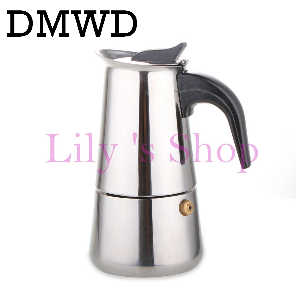 DMWD 2/4/6/9 Cups Stainless Steel Moka Latte espresso Percolator Stovetop Coffee Maker Pot coffee kettles cafetier kitchen tools home appliance 2 4 6 9 cups coffee maker pot for household stainless steel moka coffee latte percolator stove coffee pots
