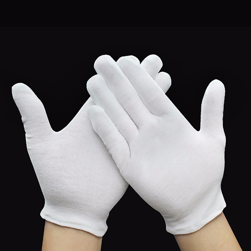 12 Pairs/lot THINKTHEDO Lightweight Inspection Cotton Blend Thick/thin White Work Gloves